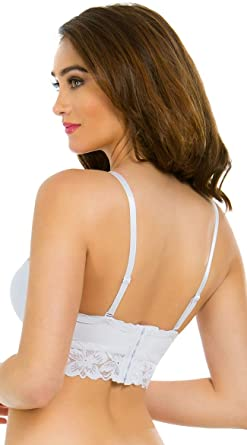 015c392fee Yandy Women s White Multi-Way Longline Removable Spaghetti Straps Bra Size  34A