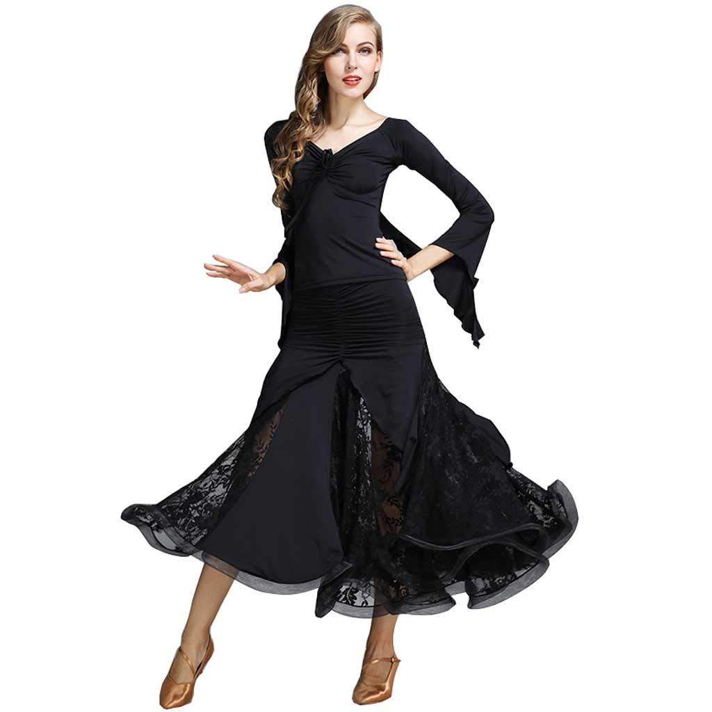 黒人の大人のモダンダンスコスチューム、ワルツの練習服 B07H7JZ4JZ M|ブラック ブラック M