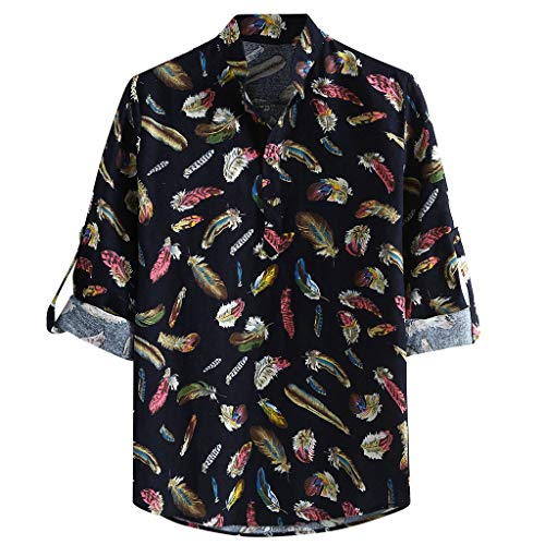 YKARITIANNA Men Casual Printing Vintage Slim Casual Long Sleeve Dress Shirt Blouse Tops 2019 Summer Black