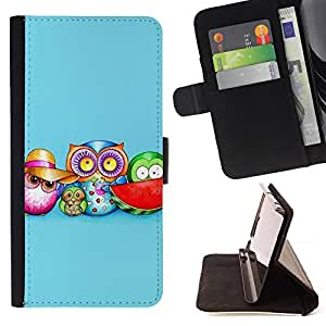 DEVIL CASE - FOR Sony Xperia M2 - Cute Colorful Owl Pattern - Style PU Leather Case Wallet Flip Stand Flap Closure Cover
