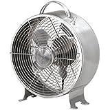 Table Fan - 10 Inch Round Retro Style Desk Fan (stainless steel)