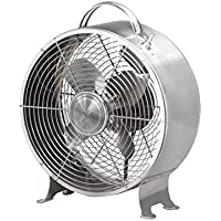 Table Fan - 10 Inch Round Retro Style Desk Fan (stainless steel)