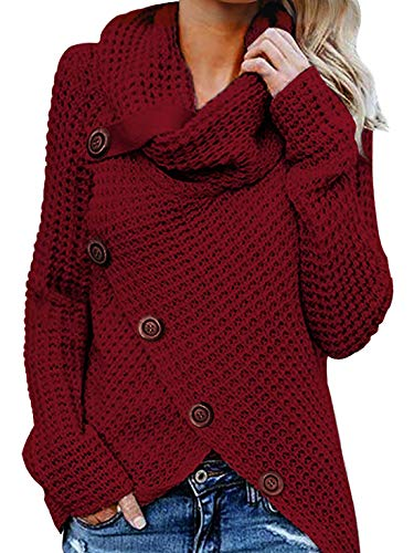 Yidarton Women's Jumper Knitted Sweater Loose Turtleneck Solid Warm Asymmetrical Wrap Pullover Long Sleeve Tops