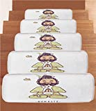Non-Slip Carpets Stair Treads,Funny,Positive Man with Cat in Yoga Greeting Pose Namaste Chakra Animal Love Design,Pale Green White,(Set of 5) 8.6''x27.5''