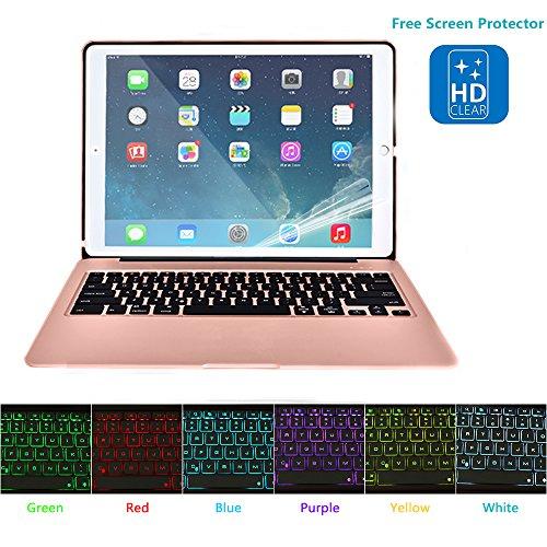 Hiotech Ipad Mini 4 Bluetooth Keyboard Case Aluminum Alloy Keypad Cover For Ipad Mini 4 With 7 Led Backlit Keys   2800Mah Capacity Power Bank  Rose Gold
