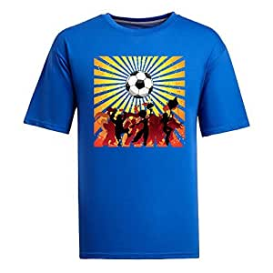 Custom Mens Cotton Short Sleeve Round Neck T-shirt,2014 Brazil FIFA World Cup Soccer Crowd Silhouette blue