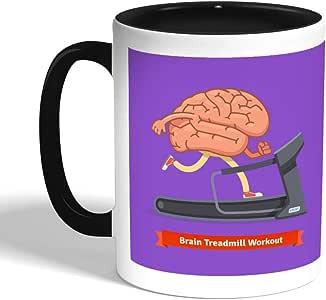 كوب سيراميك للقهوة بتصميم رياضي - نشط دماغك ، اسود