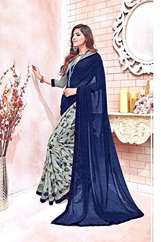Da Facioun Indian Sarees For Women Wedding Designer Party Wear Traditional Sari. Da Facioun Saris Indiens Pour Les Femmes Portent Partie Concepteur De Mariage Sari Traditionnel. Blue 2 Bleu 2