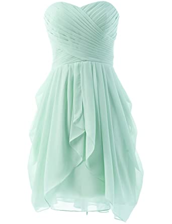 HUINI Strapless Bridesmaid Dresses Short Chiffon Prom Gown Ruched Aqua UK6