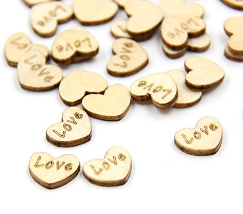 100 Pcs Heart Shape Confetti Wood Wedding Party Table Decoration Supplies