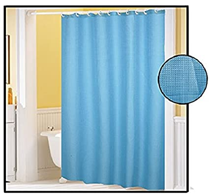 Royal Bath Extra Heavy Light Blue Poly Cotton Waffle Weave Shower Curtain 70quot