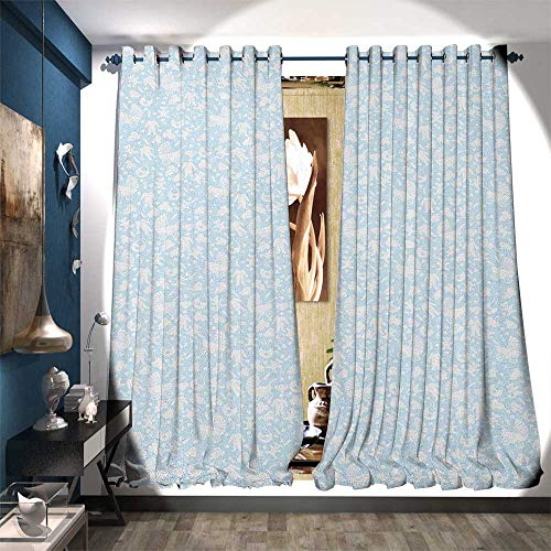 - Thermal Insulating Blackout Curtain Hearts Background with Teddy Bears Strollers Infant Clothes Newborn Child Theme Decor Curtains by W72 x L96 Pale Blue White