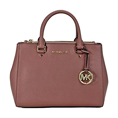 764431fc46f5 Amazon.com  Michael Kors Sutton Leather Medium Satchel Handbag - Dusty Rose   Shoes