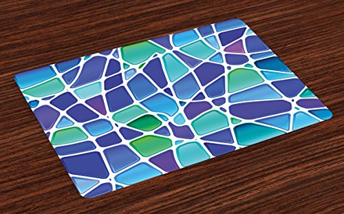 - Ambesonne Fractal Place Mats Set of 4, Ceramic Mosaic Style Forms Trippy Abstract Vivid Figures Display, Washable Fabric Placemats for Dining Room Kitchen Table Decor, Purple Jade Green Royal Blue