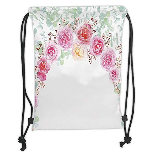 New Fashion Gym Drawstring Backpacks Bags,Shabby Chic Decor,Floral Wreath in Half Blossoming Romantic Bridal Roses Peonies Feminine Decorative,Multicolor Soft Satin,Adjustable Str -