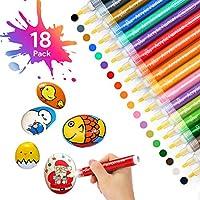Oladwolf Acrylstifte Marker Stifte, 18 Farben Premium Wasserfest Paint Marker Set, Schnelltrocknend Permanent Steine...