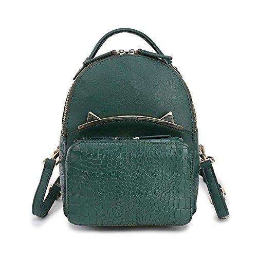 Mujer de cuero genuino mochila Moda Crocodile patrón de mochila de hombro Hardware Cinco colores decorativos disponibles Green