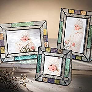 4×6 Picture Frames Colorful Glass Photo Frame Table Top Blue Peach Purple Turquoise Home Decor Family J Devlin Pic 372-46V