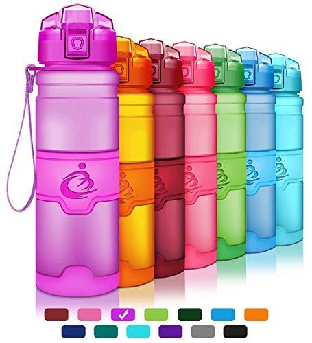 Grsta Sports Water Bottle,Leak-Proof Tritan Plastic BPA Free Kids Water Bottle with Filter/Locking Flip Lid,14 Oz,17 Oz,25 Oz,33 Oz for Children,Running,Gym,School,Outdoors(Purple,400ml/14oz)