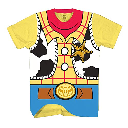 Disney Toy Story Sheriff Woody Cowboy Costume Adult T-Shirt (Large, Woody)]()