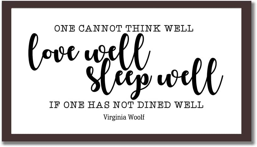 Elvoes Wood Framed Signs 8X12 Virginia Woolf Quote Prints One Cannot Think Well Wooden Sign with Inspirational Romantic Sayings Wall Art Decor for Home Bedroom