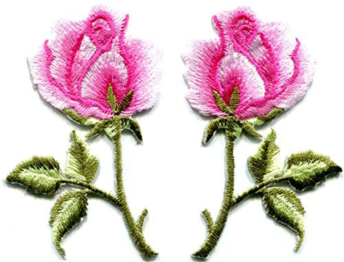 - Pink roses pair flowers floral retro boho hippie embroidered appliques iron-ons patches new