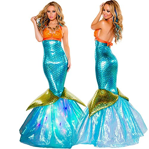 Women Sexy Mermaid Cosplay Costume Halloween Party Cosplay Mermaid Dress,Style B, Onesize(S-L) (Adult Mermaid Halloween Costume)
