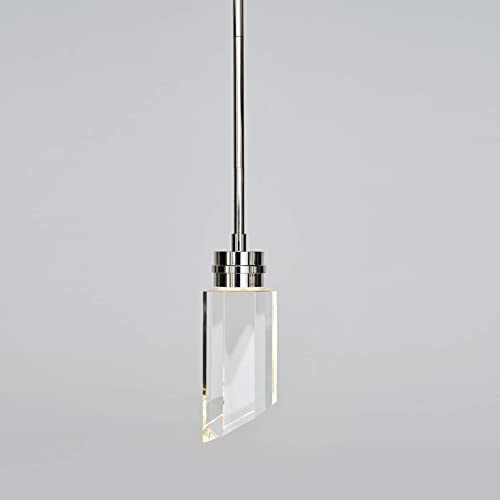 MOTINI Cylinder Pendant Light Clear Handmade Crystal 8W LED Polished-Nickel Modern Style Lighting Fixture ETL Listed Hanging Light
