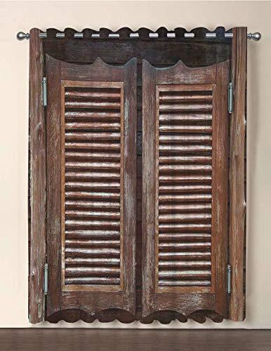 One Panel Extra Wide Sheer Voile Patio Door Curtain,Western,Antique Style Traditional Rustic Wild West Swinging Wooden Cowboy Bar Saloon Door,Dark Brown,for Sliding Doors(108