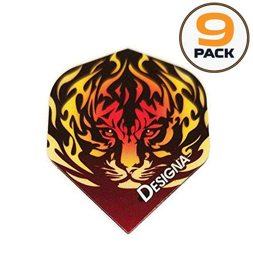 Art Attack 9 Pack Designa DSX Collection Flaming Tiger Animal Flames 100 Micron Extra Strong Dart Flights ()