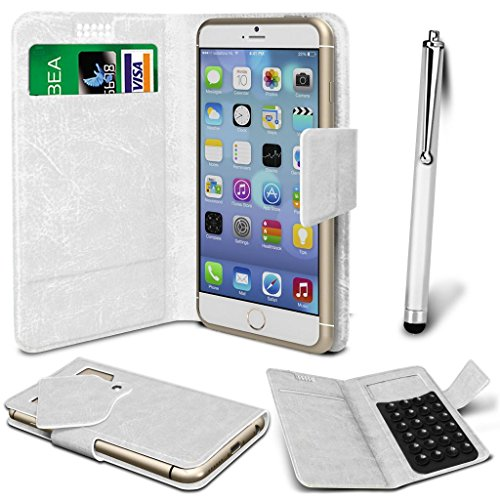N4U Online® - Apple iPhone 6 PU aspiration étui en cuir Wallet Pad Cover & High Sensitive Stylus Pen - Blanc