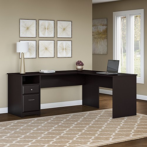 Bush Furniture Cabot 72W L Shaped Computer Desk with Drawers in Espresso Oak Bush Furniture Oak Desk