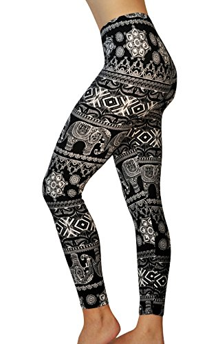 Comfy Yoga Leggings - Dry Fit - Super Soft - High Waist Black and White Fun Prints,India,One Size