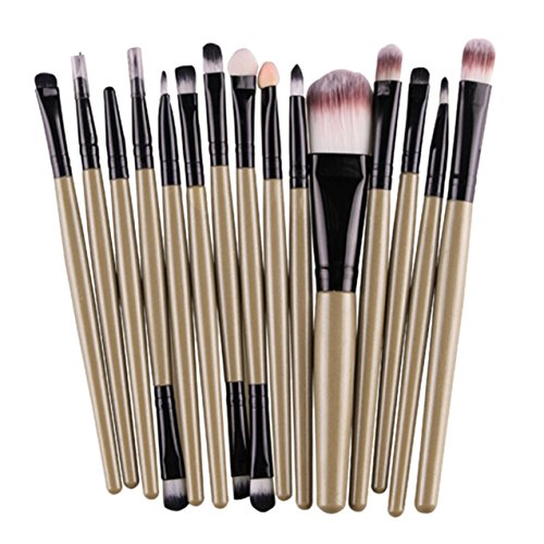 15 Pcs Makeup Brush Set Powder Eyebrow Eyeshadow Eyeliner Cosmetic Make Up Tool Foundation Natural Beauty Palettes Good-looking Popular Eyes Face Colorful Rainbow Hair Highlights Glitter Kit, Type-02 ()