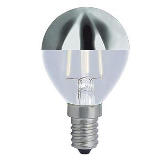 Bombilla Esférica LED 3W con cúpula plata rosca E14 de luz cálida 2700K