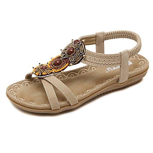 Hope Ladies Womens Open Toe Thong Sandals Ankle Strap Flat Shoes Bohemian Style Beach Shoes Summer Flip Flop Beige
