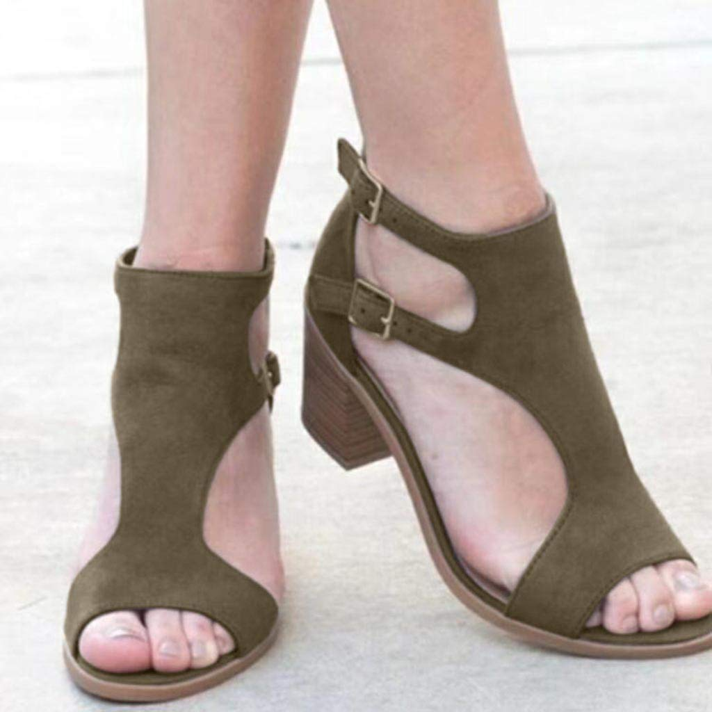 High heels sandals for women,Youngh Spring Summer Ladies Women Sandals Fashion Fish Mouth Hollow Out Roma Shoes