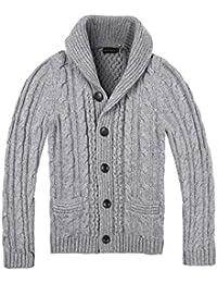 8f04216131f7f Men s Shawl Collar Cardigan Sweater Button Front Solid Knitwear