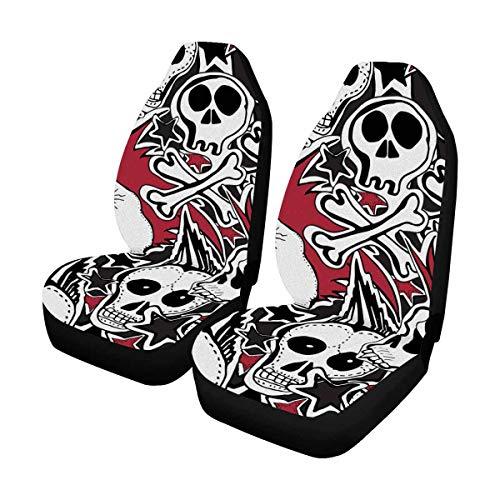 (INTERESTPRINT Crazy Punk Rock Abstract Skulls Pins Guitars Rock Auto Seat Covers 2 pc, Car Front Seat Cushion Fit Car, Truck, SUV or Van)