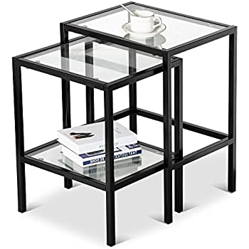 Amazon.com: Coaster 901073 2-Piece Nesting Table Set, Glass and ...