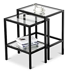 Yaheetech Set Of 2pcs Glass Nesting Tables Living Room Sofa Side End Table Set Black: black glass side tables for living room