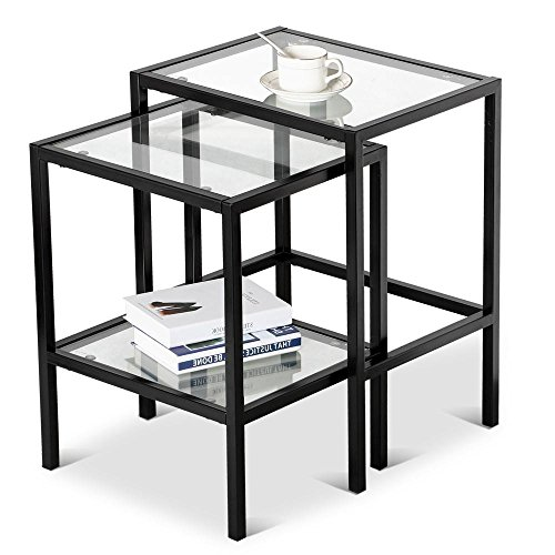 Yaheetech Set of 2Pcs Glass Nesting Tables Living Room Sofa Side End Table Set Black Frame (Black Side Tables For Living Room)
