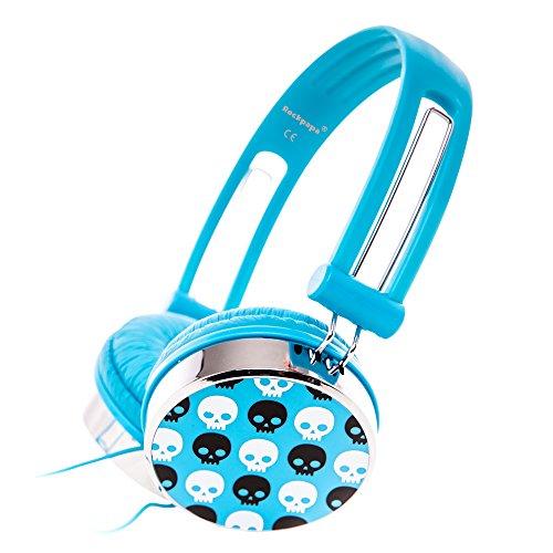 RockPapa Over Ear Stereo Wired Skull Headphones Earphones Adjustable for Kids Childrens Boys Girls Teens Adults Blue