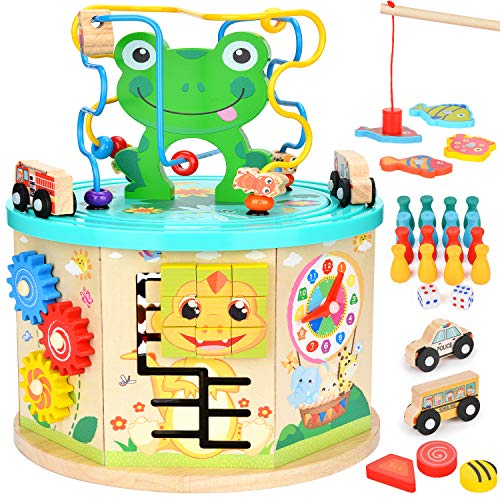 (Amagoing Activity Cube, 11 in 1 Baby Educational Toys Wooden Activity Center Bead Maze with Shape Sorter for Kids)