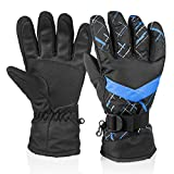 Winter Snow Ski Gloves, HUO ZAO Windproof Breathable Water Resistant Protection Mittens Warm Gloves for Outdoor Cycling Snowboard Hiking Mountain Climbing, Black Blue (AG-04)
