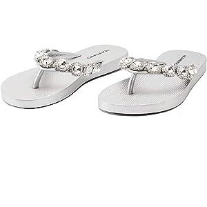 IKRUSH Womens Molls Diamante Flip Flop Sandals