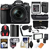 Nikon D500 Wi-Fi 4K Digital SLR Camera & 16-80mm VR Lens with 64GB XQD Card + Case + Flash + Battery/Charger + Grip + 3 Filters + Mic + Kit