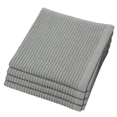 Now Designs Ripple Kitchen Dishcloth, Set of 4, London Grey, Set of 4