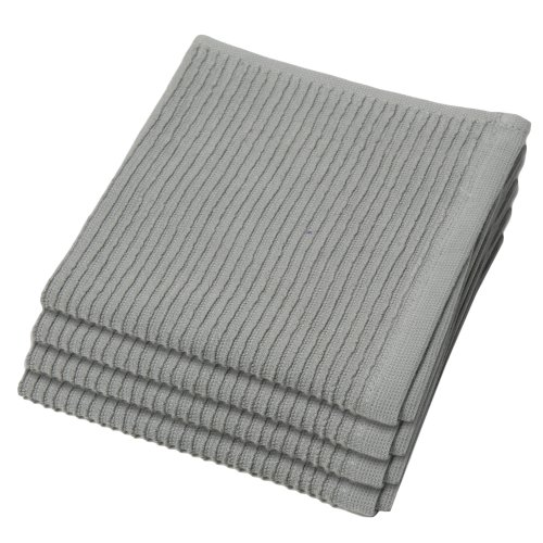Now Designs Ripple Kitchen Dishcloth, Set of 4, London Grey -