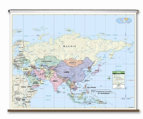 Asia Primary Classroom Wall Map on Roller